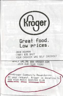 Kroger Community Rewards receipt