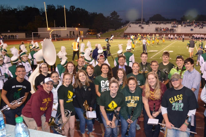 DHS Charger Marching Band welcomed back several alumni at the Homecoming Game 9/25/15!