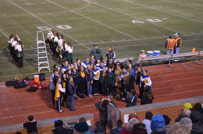 National Anthem at DHS vs MHS playoff football game on Oct 30, 2015 sung by members of the school choirs