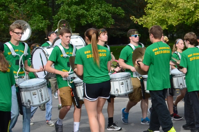 DHS Charger Marching Band Drumline members in the Homecoming Parade 2015